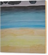 Sandy Beach And Cloudy Sky Wood Print