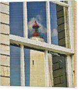 Sandy Hook Lighthouse Reflection Wood Print