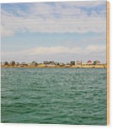 Sandy Neck Lighthouse And Cottages, Barnstable, Massachusetts, U.s.a. Wood Print
