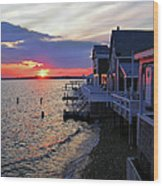 Sandy Neck Sunset At The Cottages Wood Print
