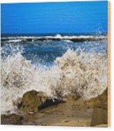 Sandy Surf Splash Wood Print