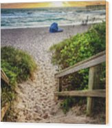 Sandy Walk Down To The Beach Wood Print