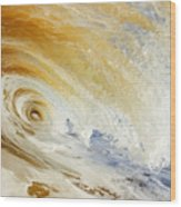 Sandy Wave Crashing Wood Print