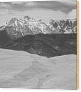 Sangre De Cristo Mountains And The Great Sand Dunes Bw Wood Print