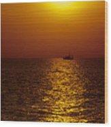 Sanibel Shrimp Boat At Sunset Wood Print