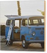 VW and Surfboard Wood Print
