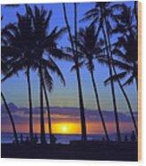 Sans Souci Sunset Waikiki Wood Print