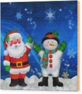 Santa And Frosty Painting Image With Canvased Texture Wood Print