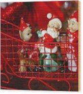 Santa And His Elves Wood Print