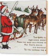 Santa And His Reindeer Greetings Merry Christmas Wood Print