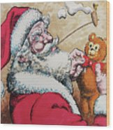 Santa And Teddy Wood Print