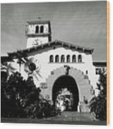 Santa Barbara Courthouse Black And White-by Linda Woods Wood Print
