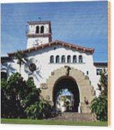 Santa Barbara Courthouse -by Linda Woods Wood Print