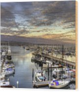 Santa Barbara Harbor Sunset Wood Print