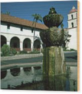 Santa Barbara Mission Wood Print