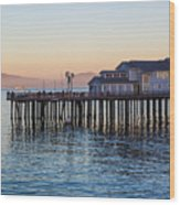Santa Barbara Wharf At Sunset Wood Print