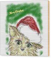 Santa Cat Wood Print