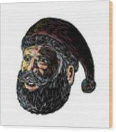 Santa Claus Three-quarter View Scratchboard Wood Print