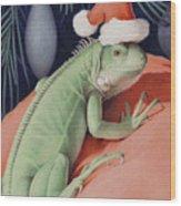 Santa Claws - Bob The Lizard Wood Print