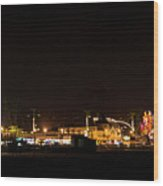 Santa Cruz Boardwalk By Night Wood Print by Brendan Reals