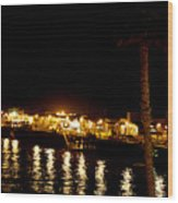 Santa Cruz Pier At Night Wood Print