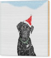 Santa Dog In The Snow Wood Print