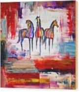 Santa Fe Dreams Horses Wood Print