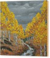 Santa Fe River Aspens Wood Print