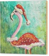 Santa Flamingo Wood Print