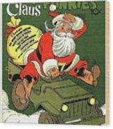 Santa In A Hurry Wood Print