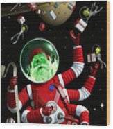 Santa In Space Wood Print
