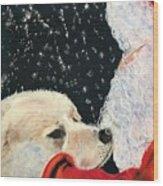 Santa Loves Dogs Wood Print