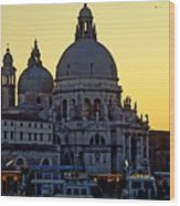 Santa Maria Della Salute On Grand Canal In Venice Against The Evening Sky Wood Print