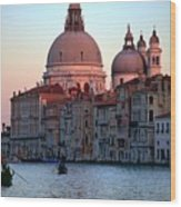 Santa Maria Della Salute On Grand Canal In Venice In Evening Light Wood Print