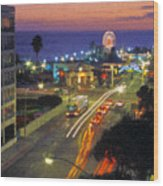 Santa Monica Ca Pacific Park Pier  Sunset Wood Print