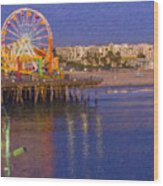 Santa Monica Pacific Park Pier And Lowes Hotel Wood Print