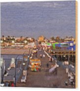 Santa Monica Pacific Park Pier Skyline Panoramic Wood Print