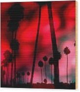Santa Monica Palms Fiery Red Sunrise Silhouette Wood Print