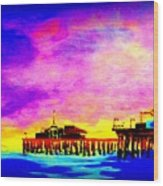 Santa Monica Pier A Night Wood Print