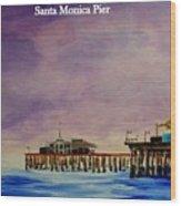 Santa Monica Pier At Night Wood Print