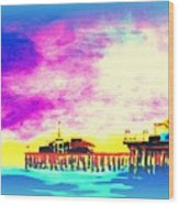 Santa Monica Pier In Blue Wood Print
