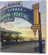 Santa Monica Yacht Harbor Sign Wood Print