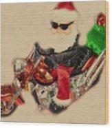 Santa On Motorcycle  Wood Print