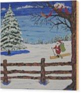 Santa On Skis Wood Print