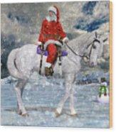Santa Rides To Town Wood Print