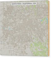 Santa Rosa California Us City Street Map Wood Print