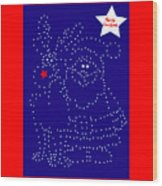 Santa Rudolph Stars Blue 2 Wood Print