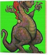 Santa Saurus Rex Wood Print