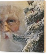 Santa Sees You Wood Print