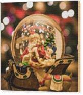 Santa Snow Globe Wood Print